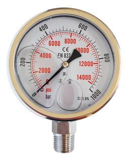 Manómetro Con Baño De Glicerina, Escala De 0-1000 Bar