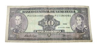Billete De 10 Bolívares 5 Junio 1995 Serial P57580091