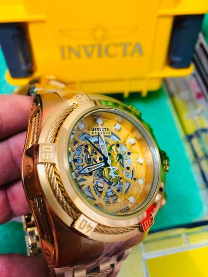 Relogio Invicta Zeus Bolt Gold + Caixa Original