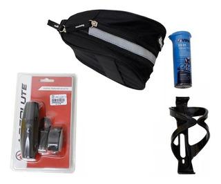 Kit Bolsa Selim Bike Farol + Remendo +suporte