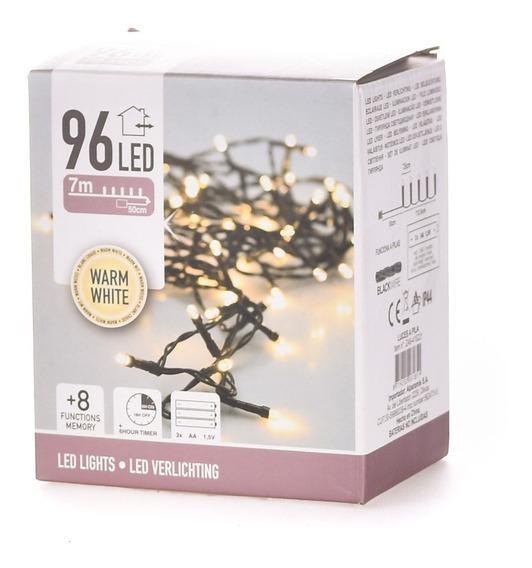 96 Luces Led Calidas A Pila - Cable Negro