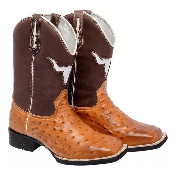 Bota Texana Country Couro Legitimo M2139 Replica Avestruz