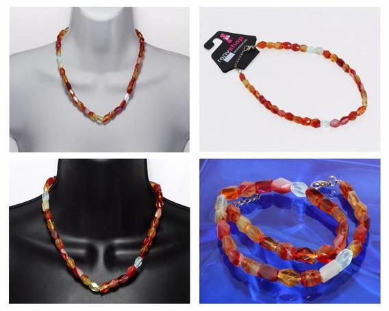 Collar Piedra Natural Dama Mujer Agatas Anaranjadas Ccpn175