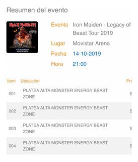 Entradas Iron Maiden Movistar Platea 85 En Efectivo