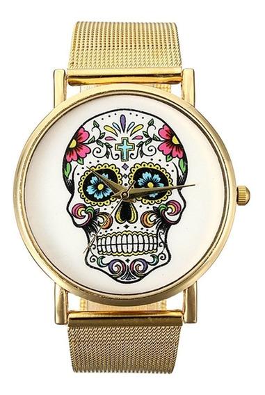 Relógio Feminino Pulso Dourado Caveira Pulseira Malha R26