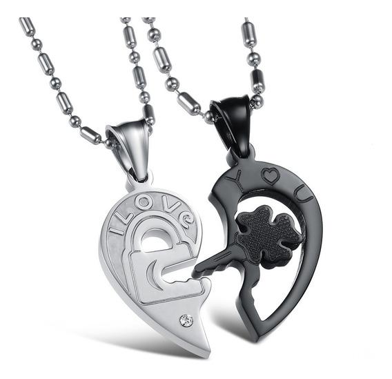 Duo Collar Novios Acero Inox Pareja Corazón Llave Candado