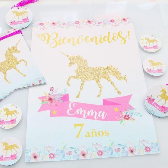 Unicornio Dorado Shabby Chic Partybox Kit Impreso 12 Invit