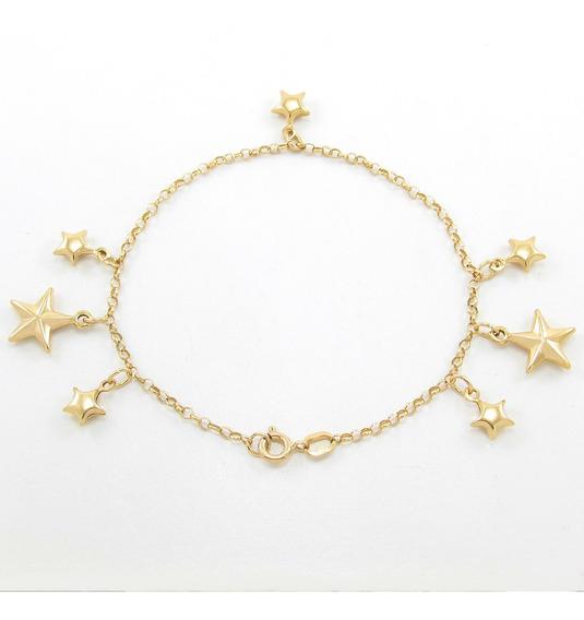 Pulseira Elo Português Com Pingentes Estrelas Ouro 18k 750.