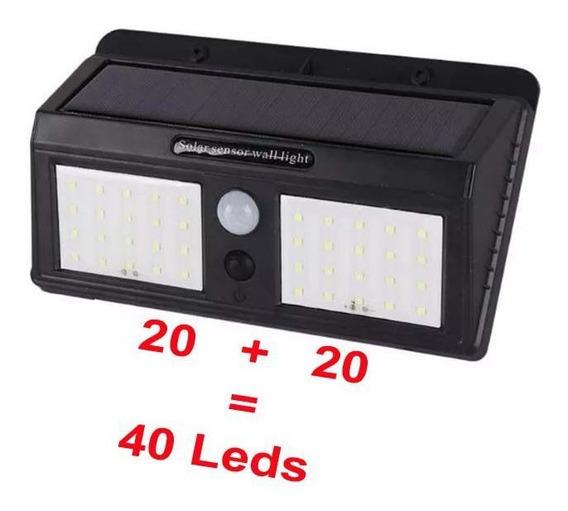 2 Luminárias Solar Parede De 40 Leds C/ Sensor De Presença