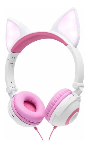 Fone Ouvido Orelha De Gato Com Led Luz Headphone P2 - Cores