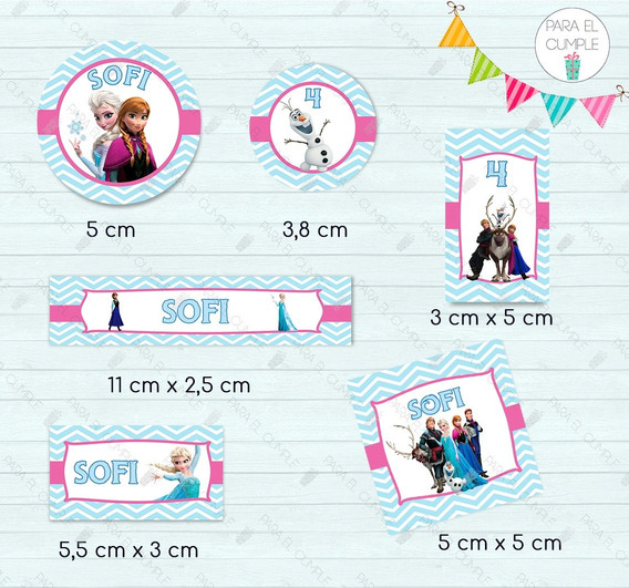 Stickers Etiquetas Frozen Candy Bar Cortados Kit X120 U