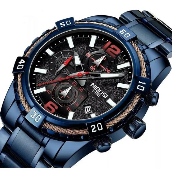 Relógio Masculino Azul Nibosi Vidro Hardlex 100% Funcional