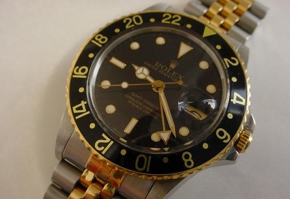 Rolex Gmt Master 16753 18k Amarillo Oro Y Acero Inoxidable
