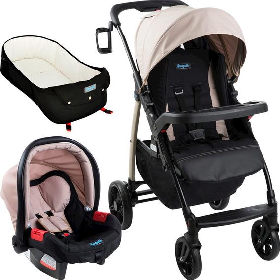 Carrinho De Bebê Módulo + Bebê Conforto + Ninho - Cappuccino