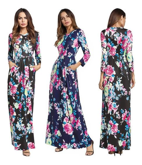 Mujeres Verano Largo Maxi Vestido Floral Impresión Largo Ma