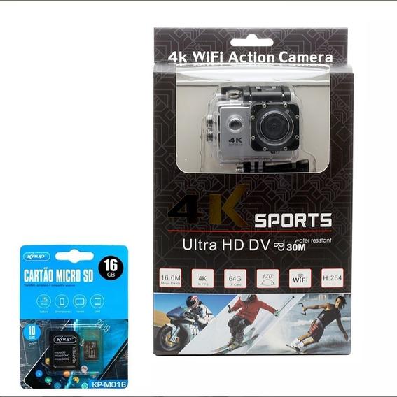 Câmera Hd Gopro 4k Sport Wifi Prova Dágua + Cartão 16 Gb