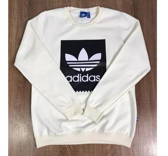 Blusa De Frio adidas - Moletinho Creme Logo Preto C/branco