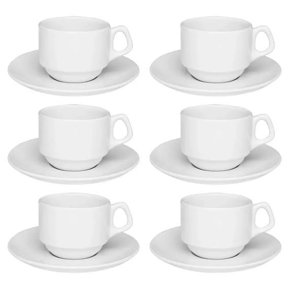 6 Xícaras De Chá 180ml Oxford Porcelana Empilhável Hotel