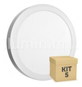 Kit 5 Painel Plafon Led 25w Redondo Sobrepor Branco Frio