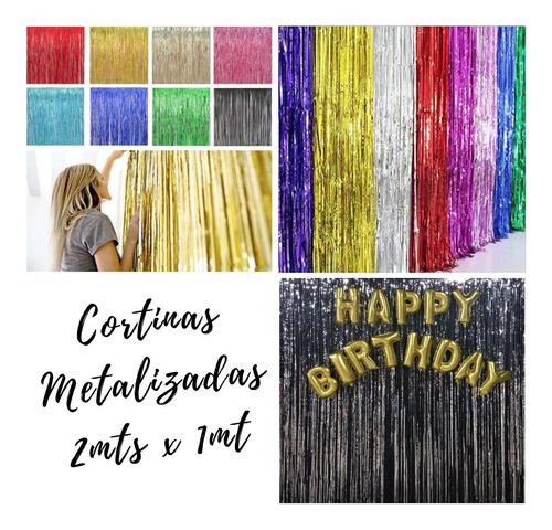 Cortinas Metalizadas Colores Para Fiestas Decoracion - Globo