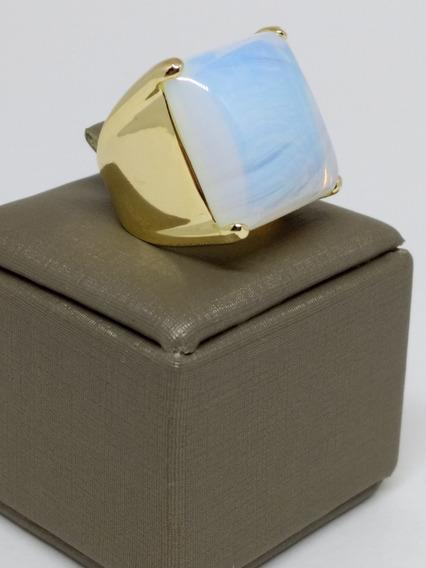 Anel Feminino Folheado Ouro Luxo Pedra Da Lua Natural C366