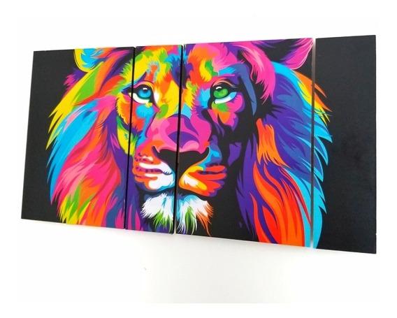 Cuadro Leon Full Color Decoracion Moderno Animales Poliptico