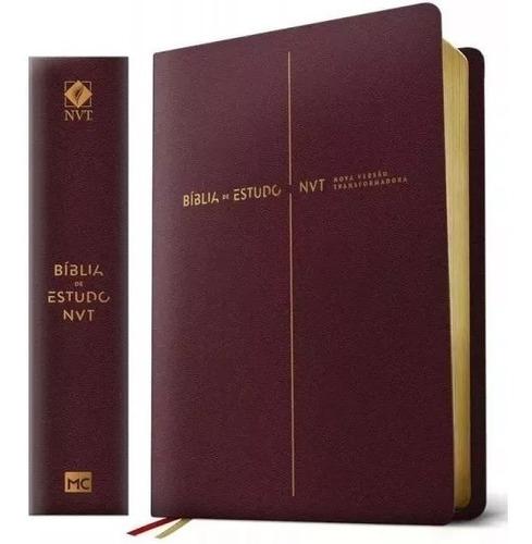 Biblia De Estudos - Nvt - Vinho - Mundo Cristao Completa