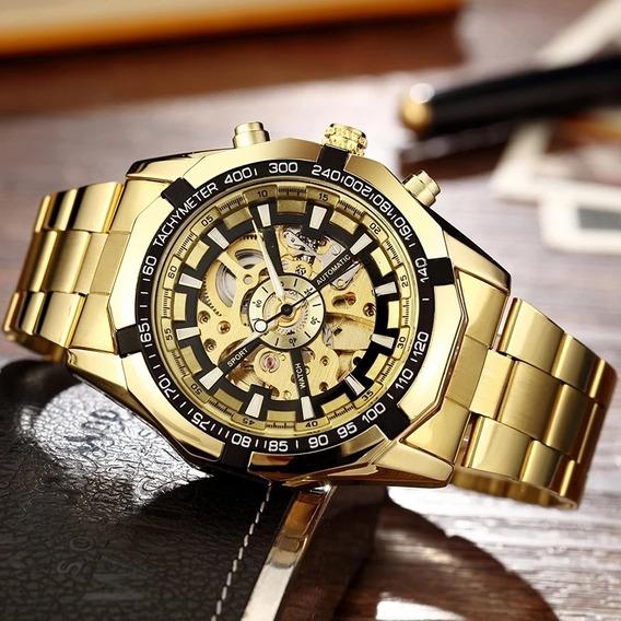 Relógio,masculino, Esqueleto Maquinário Transparente Dourado