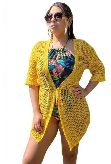 Saída De Praia Camisetão Kimono Tricot Plus Size Grande Aberta 46 Ao 50 Moda Verão Manguinha Manga 3/4