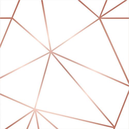 Kit 6 Rolos Papel De Parede Zara Branco Com Rosê Gold 270