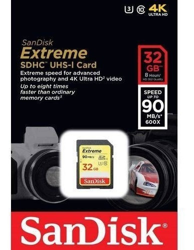 Cartão Memória Sd Hc Sandisk Extreme 32gb 90m/s 4k Lacrado