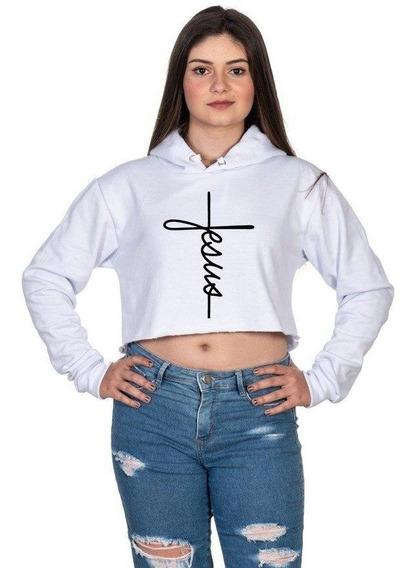 Cropped Curto Feminino Moletom Jesus Lançamento Imperdivel