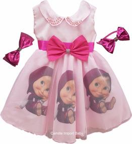 Vestido Masha E O Urso Festa Infantil Luxo Promoção