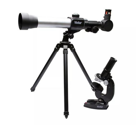 Kit Combinado Telescópio E Microscópio Vivitar Vivtelmic20