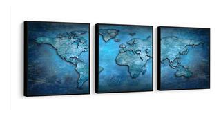 Quadro Mapa Mundo Retro Azul Moldura Lisa Madeira Preta
