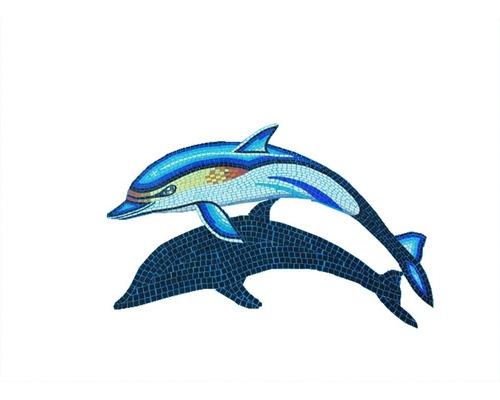 Imagen 1 de 9 de Mosaico Veneciano Delfin Amarillo Con Sombra Para Alberca