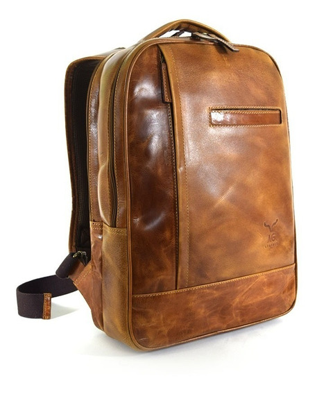 Backpack Ag Leather Doble Compartimento 100% Piel Miel