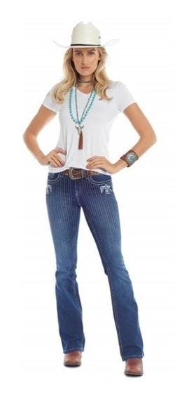 Calça Country Feminina Tassa Jeans Bordada Com Brilho Flare