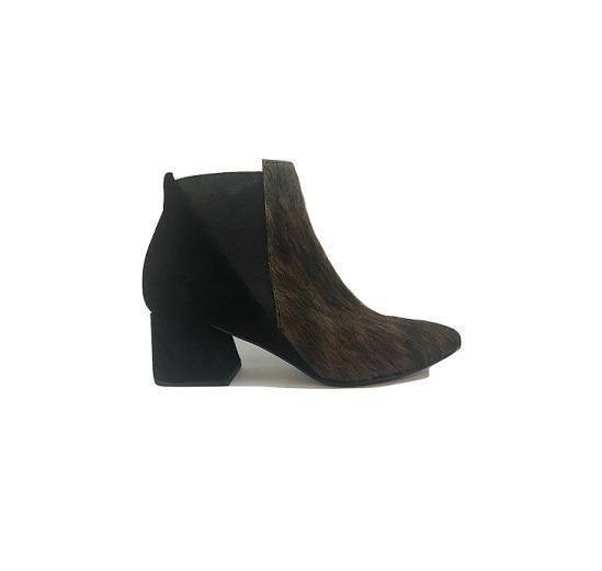 Zapato Mujer Bota En Punta Natacha Cuero Negro Y Pelo #474