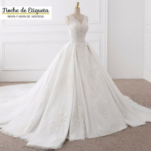 Imagen 1 de 5 de Vestido De Novia Corte Princesa Escote V Organza/encaje
