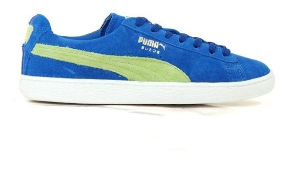 Tênis Puma Suede Classic Couro Azul E Verde