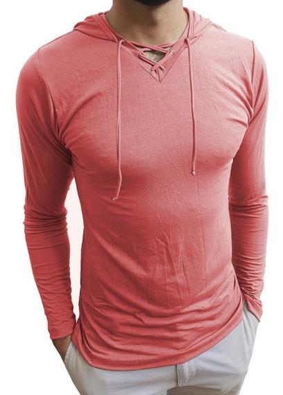 Camisa Blusa Masculina Gola V Com Capuz E Cordão Slim