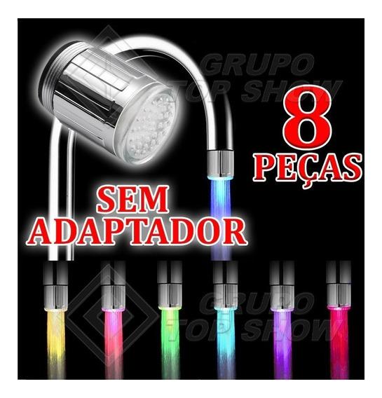 8 Peças Torneira Luz Colorida Bico Led Iluminacao Cores 24mm