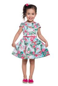 Vestido Infantil Menina Malha Crepe Sublimada Boca Grande