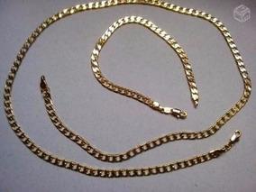 Conjunto Masculino Corrente 60cm+pulseira Rommanel Folheada