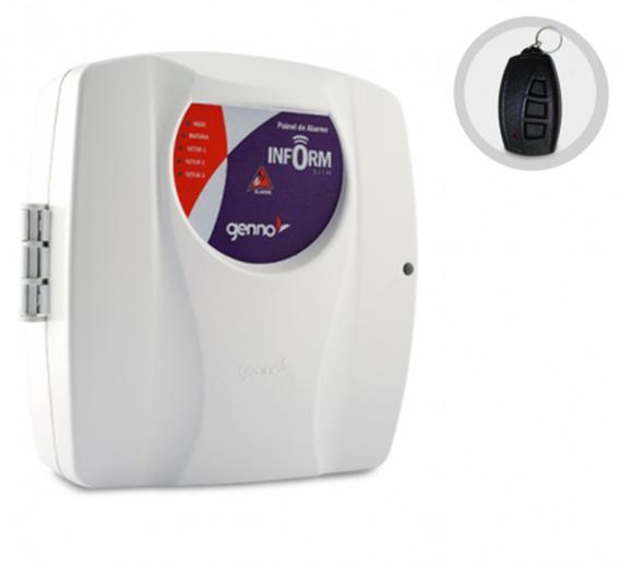 Central De Alarme Controle Remoto Genno Inform Slim 3 Setor