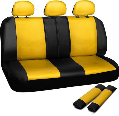 Cubre Asiento Trasero Universal Para Autos Carros Amarillo Negro Cinturones Tipo Piel