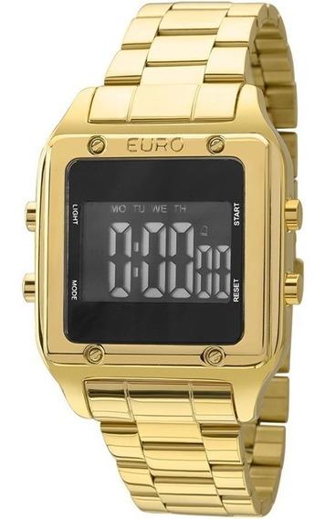 Relógio Feminino Digital Dourado Quadrado Euro Eug2510aa/4p