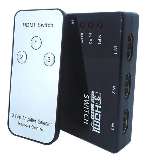Hub Switch Hdmi 3 Portas Splitter Full Hd 3d Ps3 + Controle