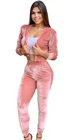 Conjunto Feminino Calça E Blusa Cropped Veludo Com Ziper